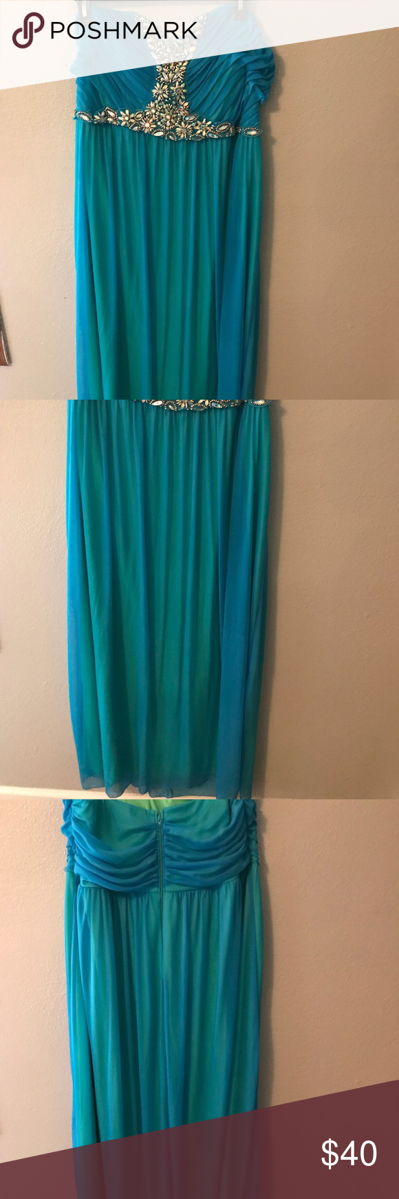 Strapless Gown A great dress for a prom dress or a wedding guest dress. It is color is aqua with a green under lining. Deb Dresses Strapless