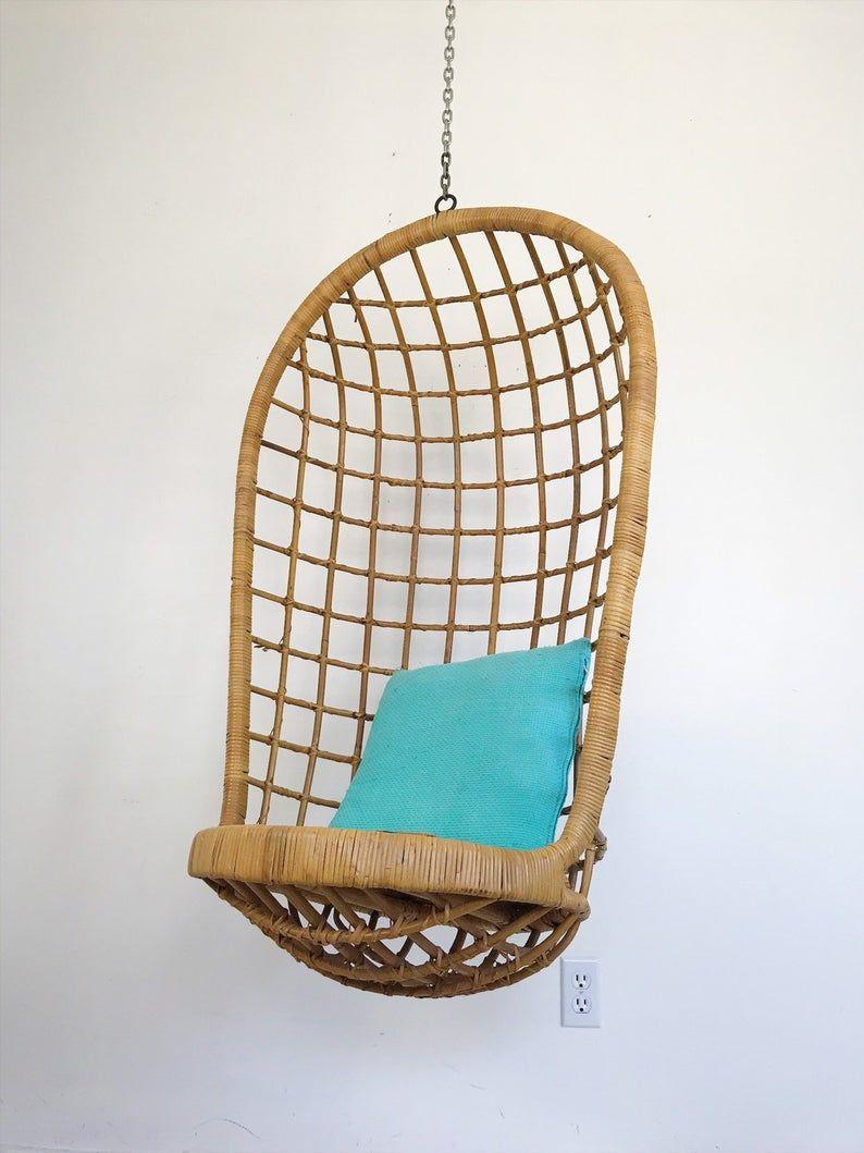 Vintage Bambou Rotin Franco Albini Style Mid Century Suspendu Etsy Hanging Chair Decor Vintage