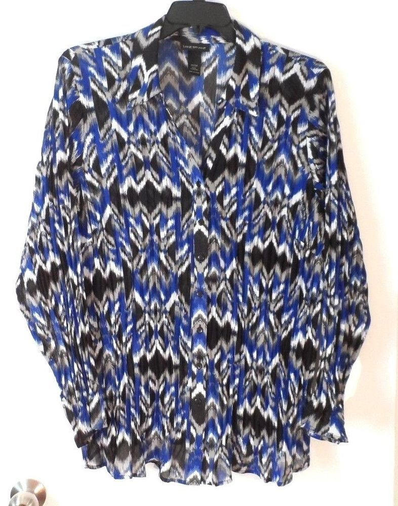 130ccf37a2f Womens Lane Bryant Black Blue White Print Long Sleeve Blouse Plus Size 22    24  fashion  clothing  shoes  accessories  womensclothing  tops (ebay link)