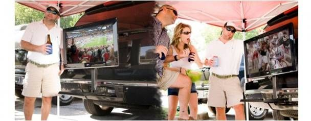 Put the flat screen right on your hitch!  http://shop.tailgatingideas.com/hitch-n-view/
