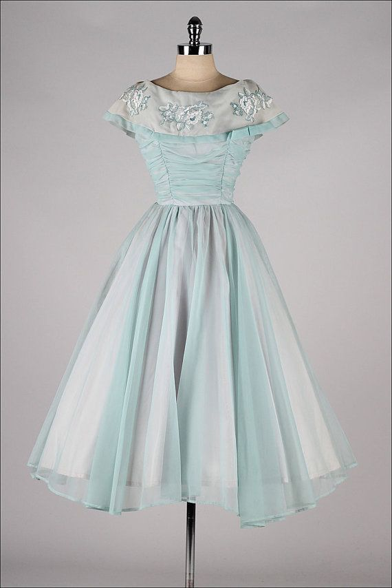 vintage 1950s dress . powder blue chiffon . by millstreetvintage