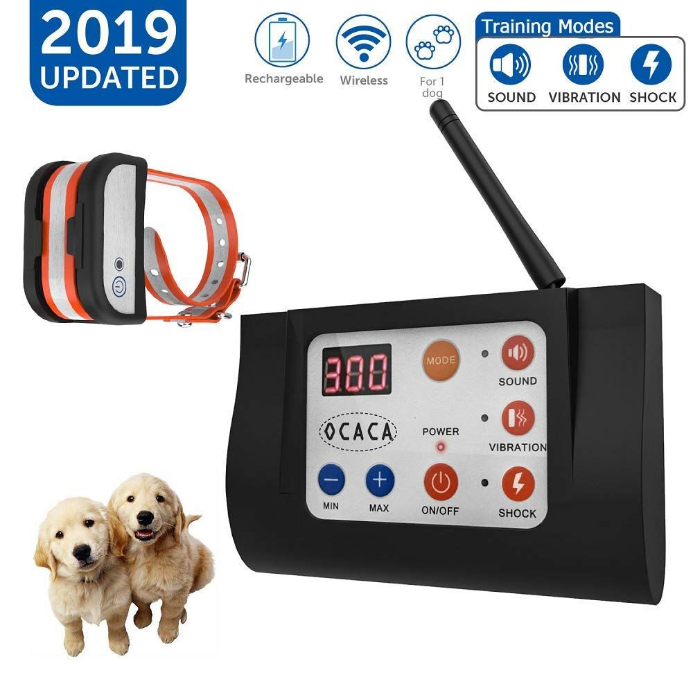 Ocaca Updated Dog Fence Wireless And Training Collar Outdoor 2 In 1 Electric Wireless Fence For Dogs Remote In 2020 Training Collar Dog Fence Pet Containment Systems