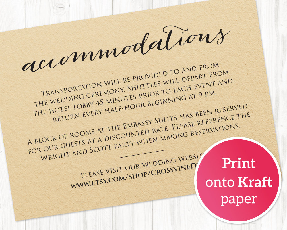 Wedding Accommodations Card Insert Wedding Templates And Printables Wedding Invitation Details Card Wedding Invitation Inserts Wedding Accommodations