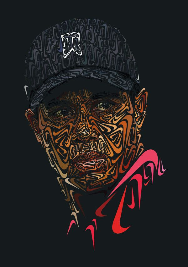 These Portraits Of Lebron James And Tiger Woods Made Of Nike Symbols
