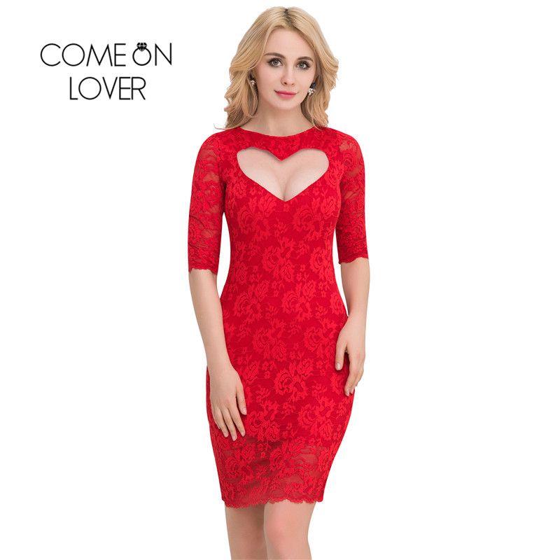 vi1049 comeonlover valentine day sex dresses half sleeve party plus size lace dresses elegant sweater bodycon - Plus Size Valentine Dresses