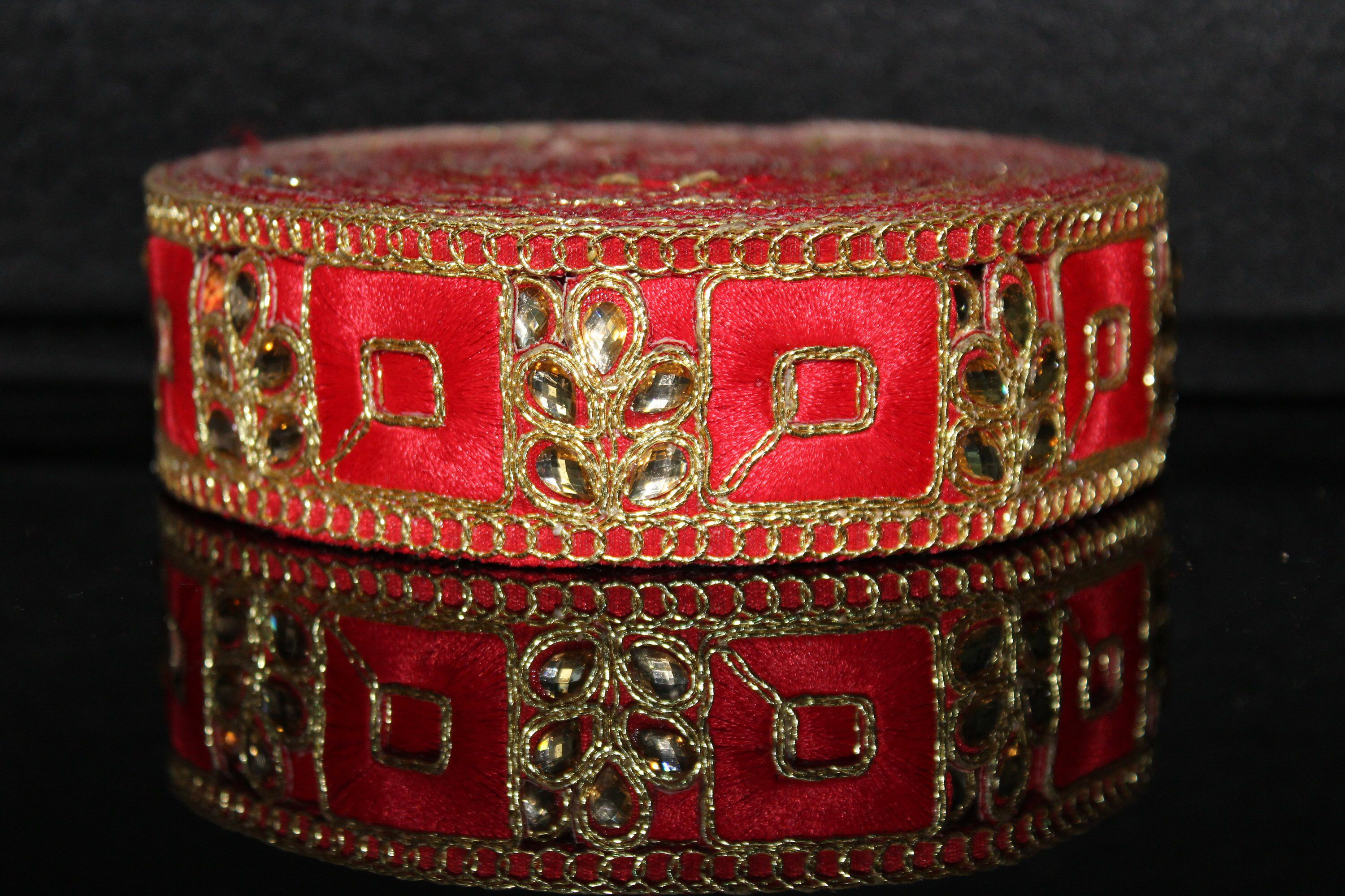 Wholesale Red and Gold Trim,Handmade Indian Border,Antique