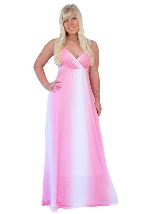 trendy long pink white plus size maxi dresses for curvy women 2013