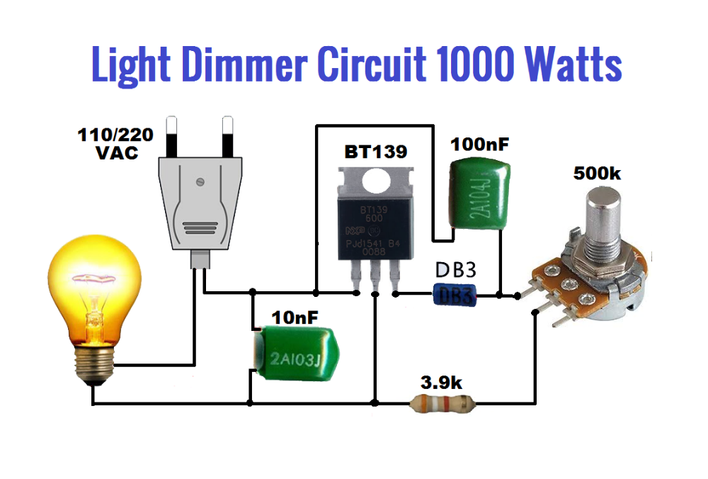 Light Dimmer Circuit 1000 Watts Using Bt139 Envirementalb Com Electronic Circuit Projects Simple Electronic Circuits Basic Electronic Circuits