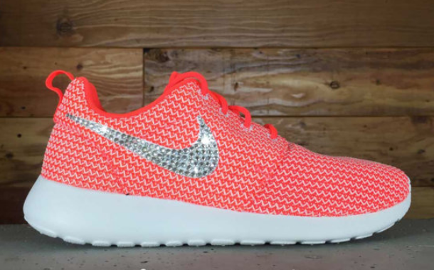 Glitter Kicks Nike Roshe Runs With Swarovski Crystal Rhinestones Red  Textured White