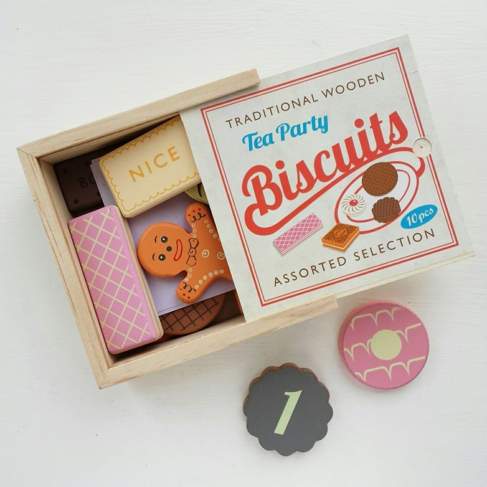 This traditional biscuit set is a favourite at little maldod HQ.Great for endless pretend tea parties and, with numbers on the reverse, they're great for learning to count too.Set contains 10 assorted tea party wooden biscuits, presented in a lovely wooden box. Please note: not suitable for children under the age of 3 years.