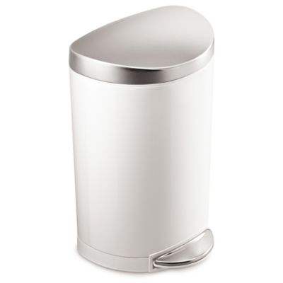 Simplehuman Stainless Steel Semi Round 10 Liter Step On Trash Can