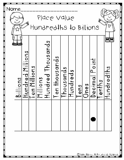 Place Value Charts To The Billions Place Value Chart Place Values Math Notebooks