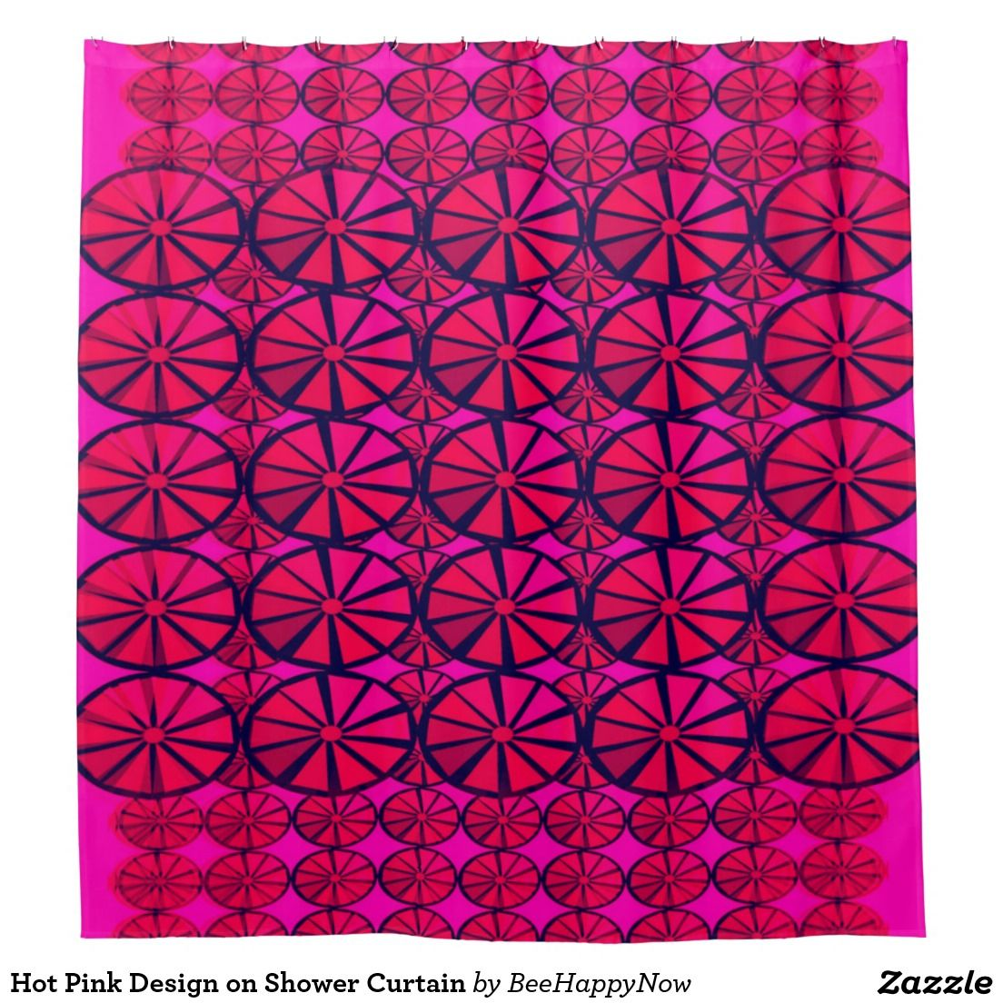 Hot pink shower curtain - Hot Pink Design On Shower Curtain