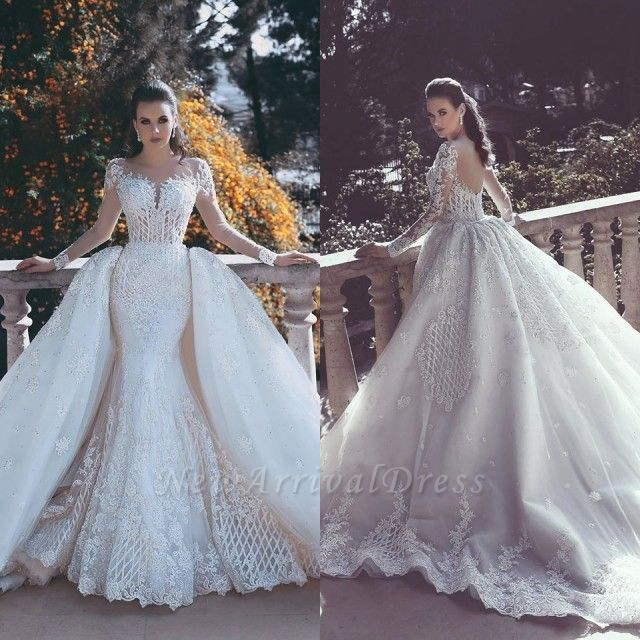 Luxury Wedding Reception With A Perfect And Awesome: Long Sleeve Wedding Dresses With Lace Appliques