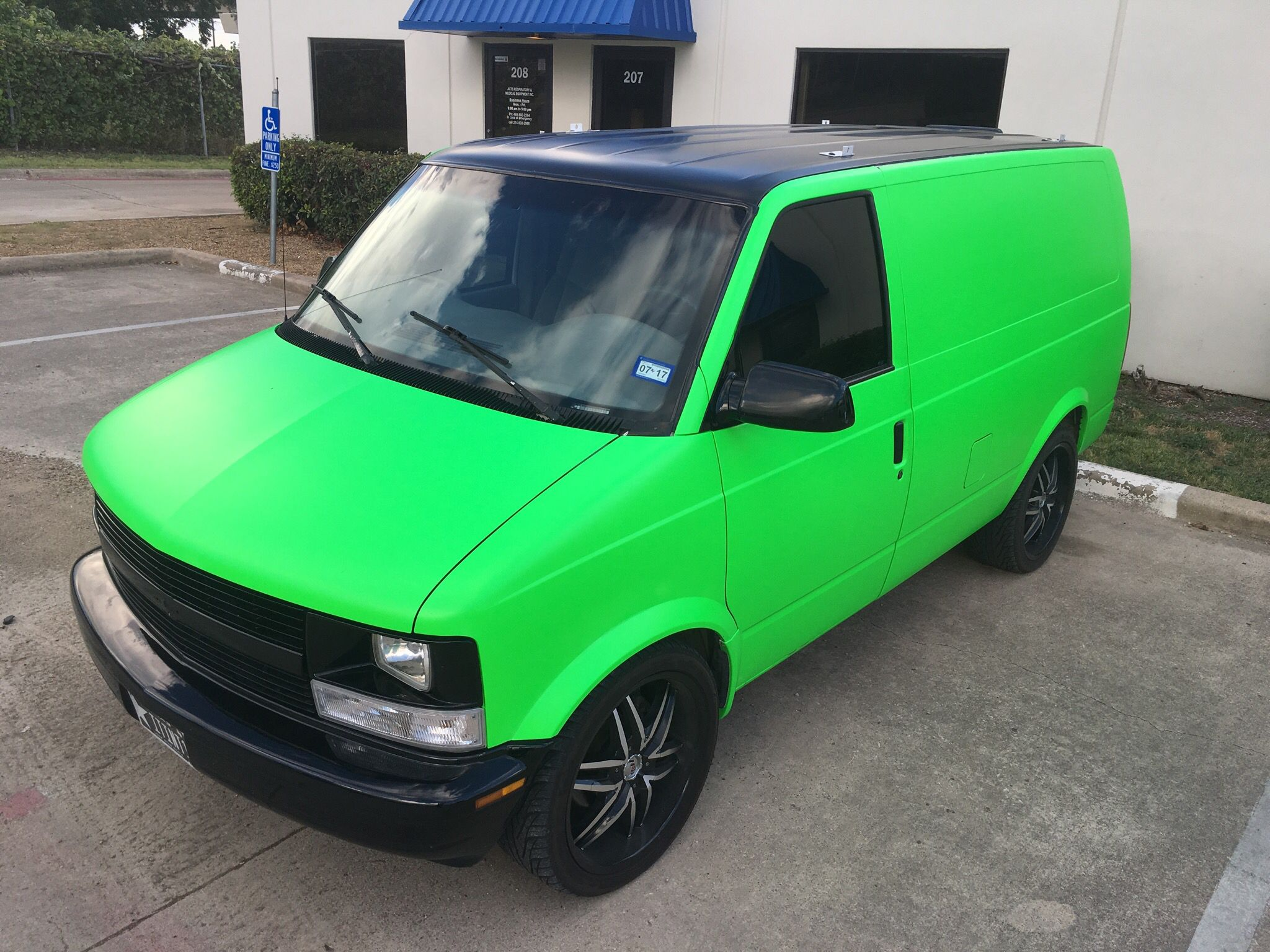 satin neon green wrapped chevrolet astro van by sharp wraps [ 2048 x 1536 Pixel ]