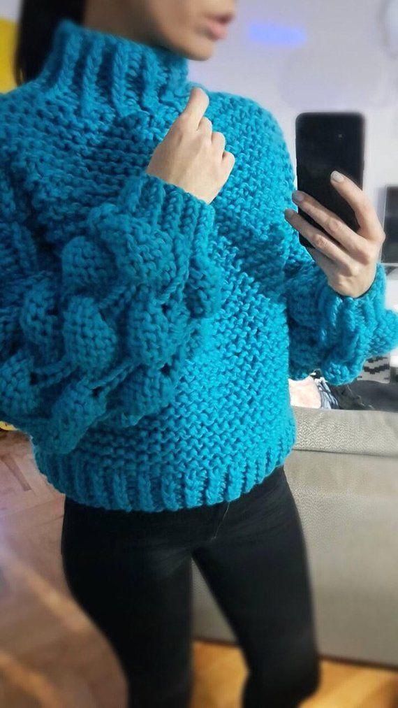 c9d231a16525b Woman chunky sweater. Hand knit sweater. Turtleneck sweater. Big ...