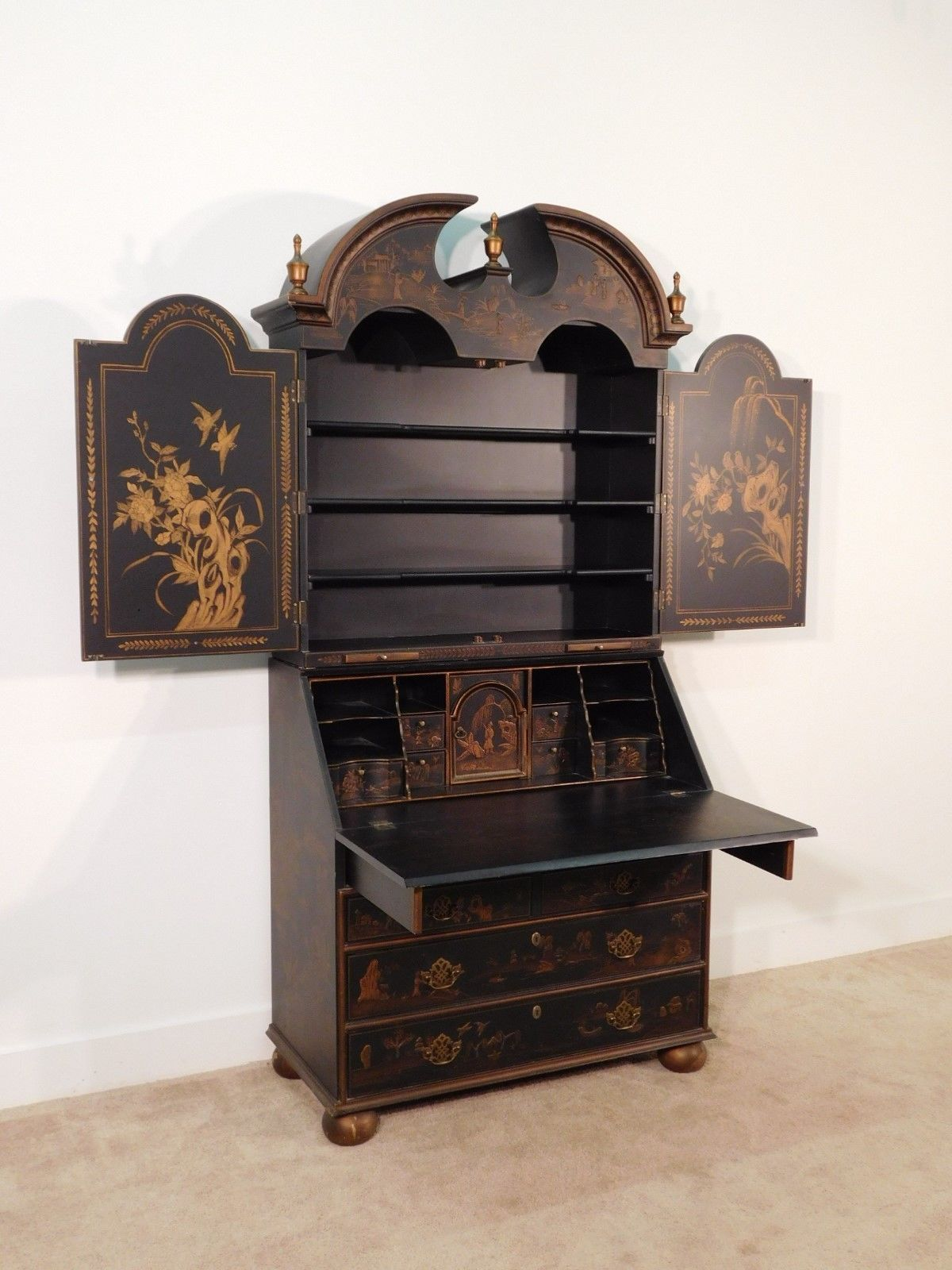 Harden Furniture Company Chinoiserie Secretary 2 Piece Bookcase  # Muebles Secreter
