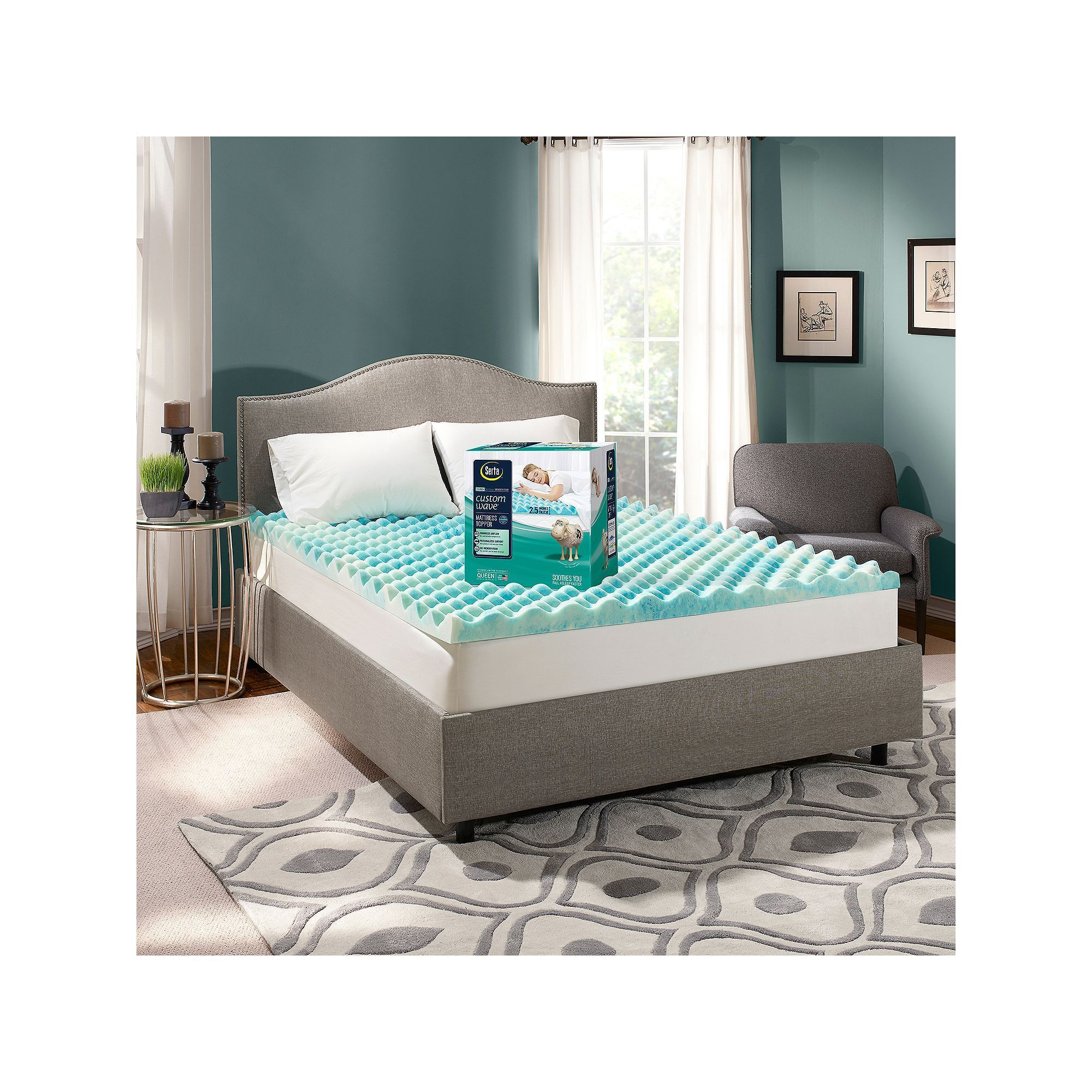 Serta CustomWave 2.5-inch Gel Memory Foam Mattress Topper, Blue