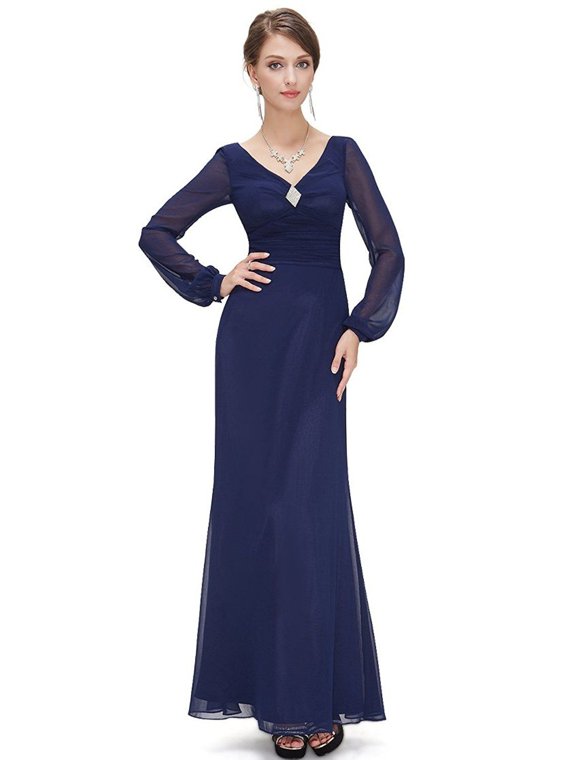 Ever pretty dark blue double vneck diamante long sleeve evening