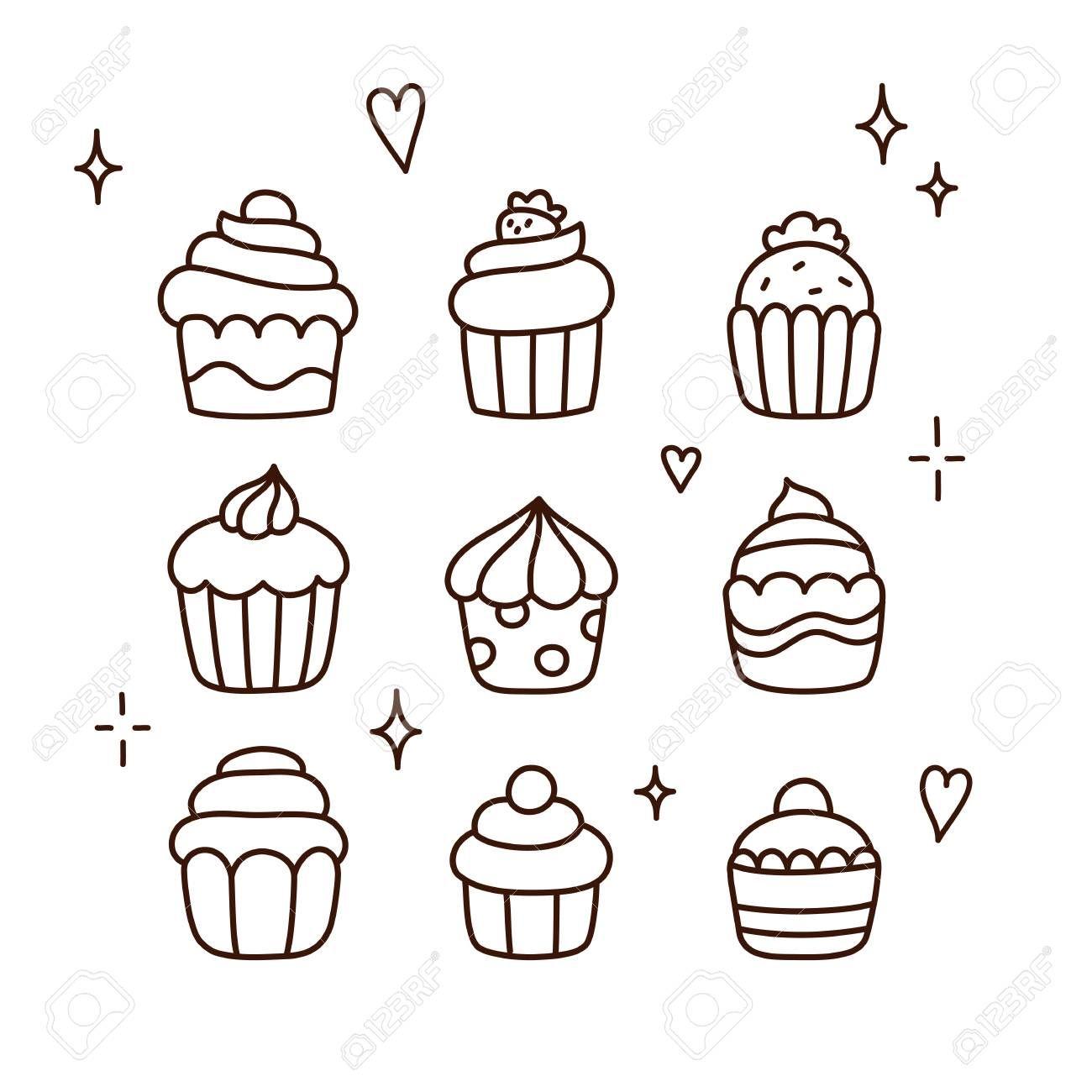 Set Of Cute Cartoon Cupcake Doodles Hand Drawn Line Art Cartoon Cupcakes Cupcake Drawing Cupcake Illustration