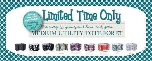 For every $35 you spend in November, get a medium utility tote for just $7! Perfect for holiday gifts! Check out my website mythirtyone.com/caseyroberts to order or contact me to host a party!