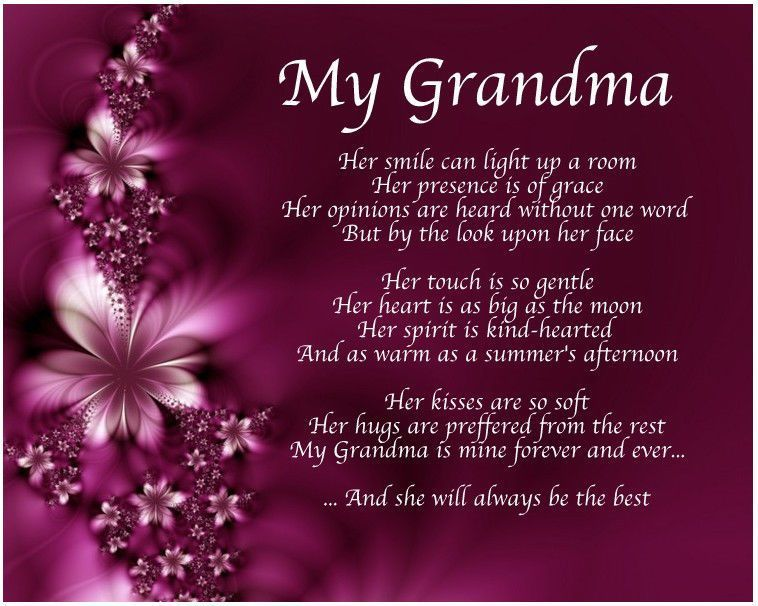 Personalised My Grandma Poem Mothers Day Birthday Christmas Gift Present