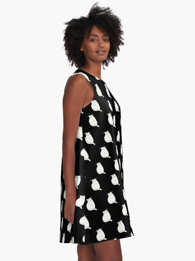 A-Line Dress Three Eye Cat with halo in black and white pattern