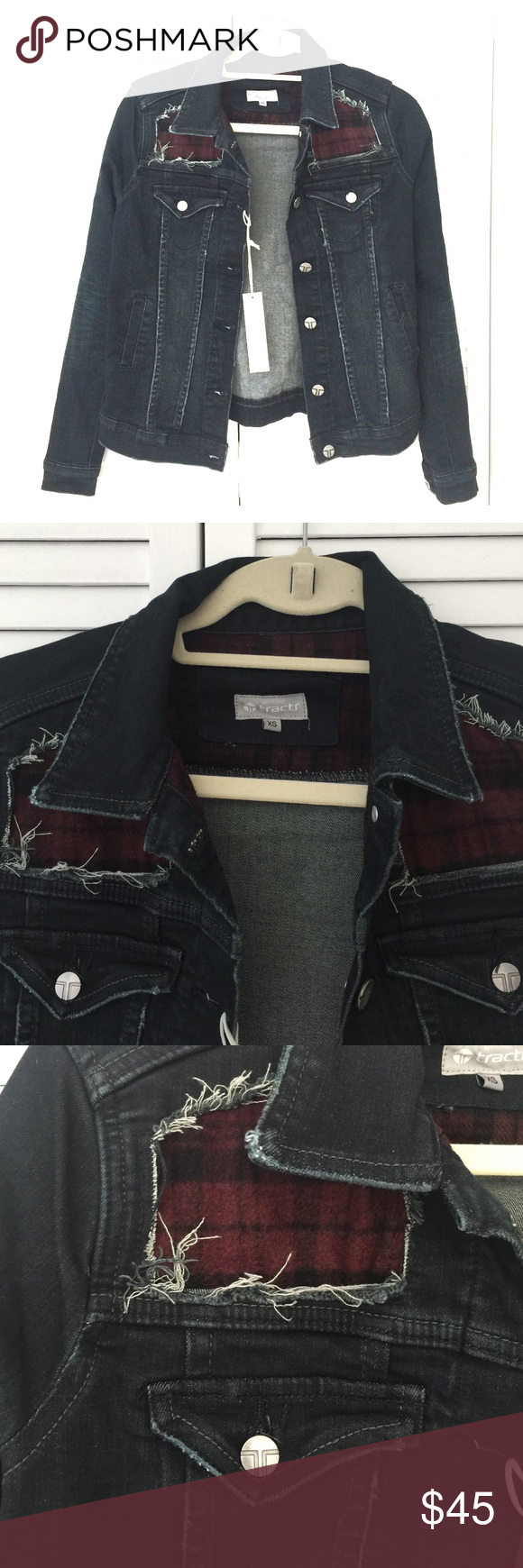 Flannel into dress  TRACTR Distressed Patchwork Flannel Jean Jacket NWT  black jean