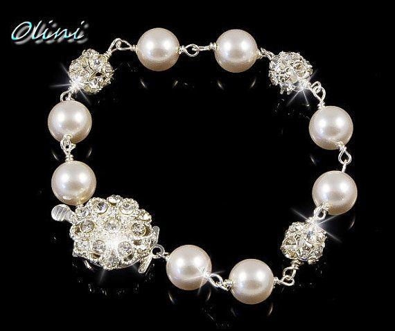 CLARA  White Swarovski pearl and rhinestone by OliniBridalJewelry, $34.00