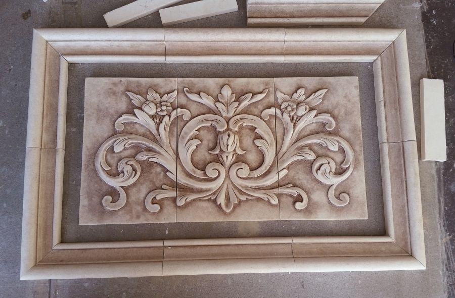 "Decorative Relief Tiles Stunning Floral And Plain Frame Liners In Matte Beige Glaze 1"" Left Decorating Design"