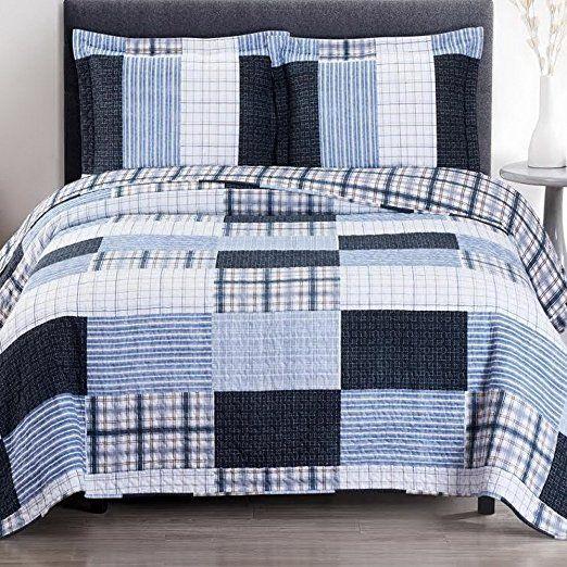 Cottage Coastal Coverlet Quilt Shams Set Double Bed Full Queen Size Navy Ice Blue Gray Plaid Stripe Patchwork Print P Quilt Bedding Coverlet Bedding Quilt Sets
