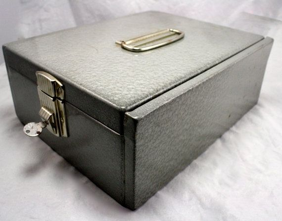 INDUSTRIAL METAL Lock BOX With Key Large Index Card Size