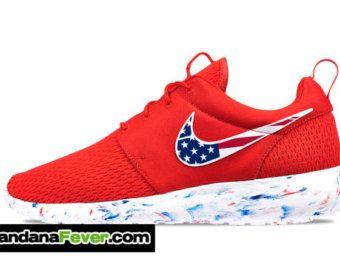 Nike Distressed American Flag Roshe Run Men S Challenge Red