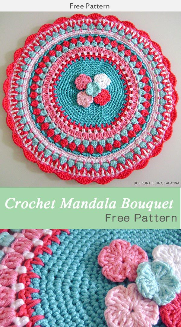 Crochet Mandala Bouquet Free Diagram   Crochet   Pinterest   Crochet ...