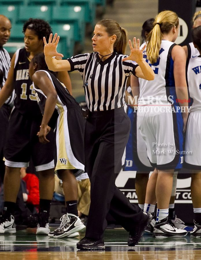 Referee Karen Preato During The 2011 Acc Womens Basketball Tournament In Greensboro North Basketball Shorts Girls Team Usa Basketball Football And Basketball