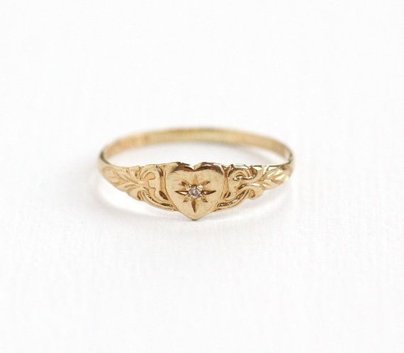 Vintage 10k Yellow Gold Diamond Heart Ring 1940s Size 4 Hallmarked Psco Plainville Stock Co Repousse Design Fine Jewelry Diamond Heart Ring Antique Rings Vintage Diamond Heart