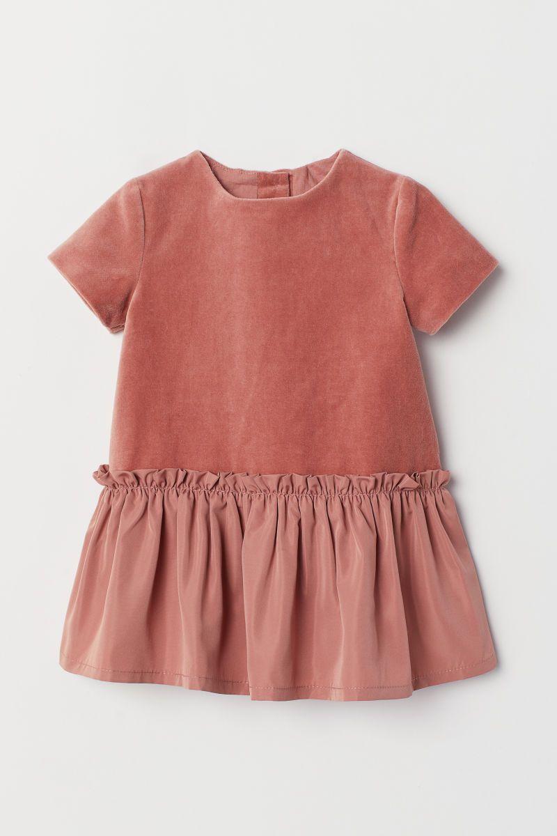 Samtkleid Dunkles Altrosa Kids H M De Kleidung Samtkleid Kleinkind Madchen Outfit