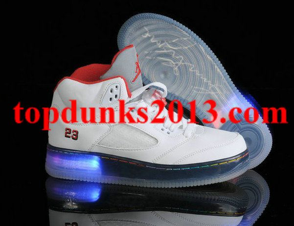 Comfort Glow In The Dark Jordan 5 Light Up White Grey Red Signed online
