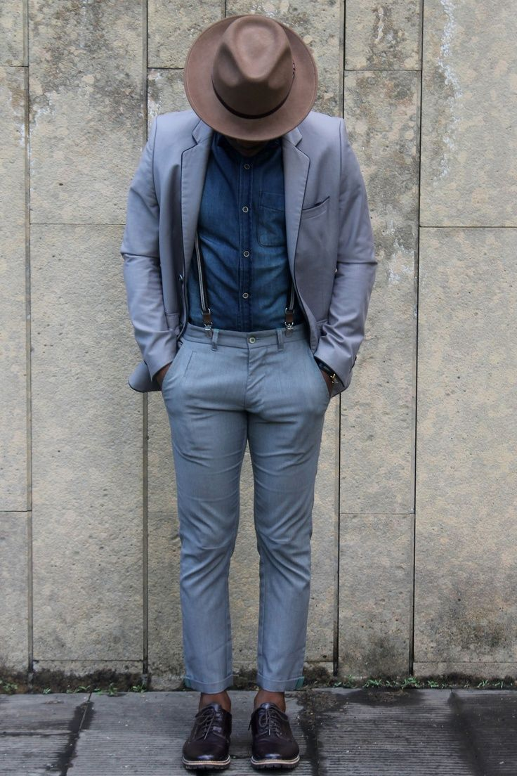 Head-to-toe style blue, suspenders , nice fit, Amish
