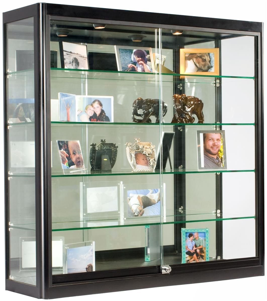 3x3 Wall Mounted Display Case W Mirror Back 2 Top Halogen Lights Locking Black Wall Mounted Display Case Glass Display Case Glass Cabinets Display