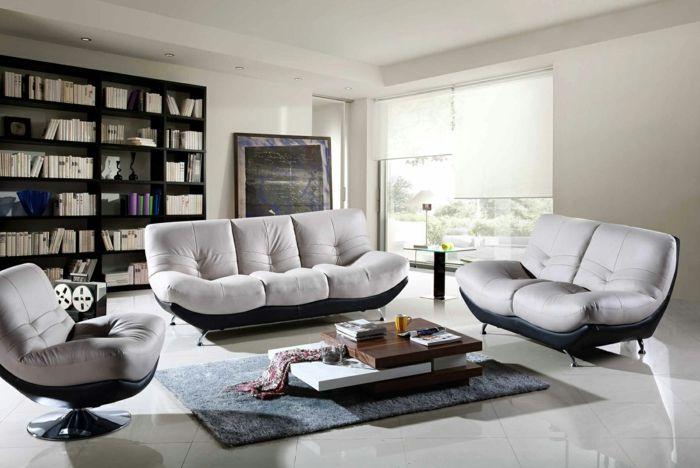 moderne wohnzimmermöbel bequeme sessel grauer teppich offenes - wohnzimmermobel modern