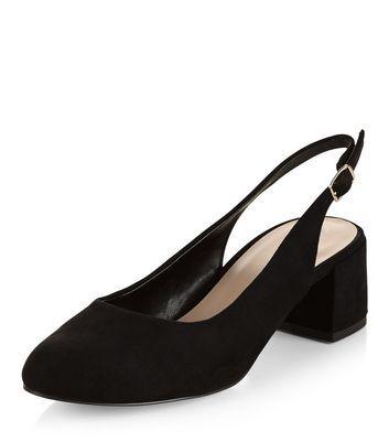 Schwarze Schuhe aus Wildlederimitat mit mittelhohem Absatz und Fersenriemen…