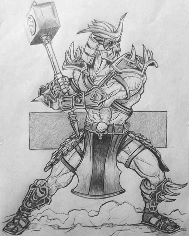 Shao Kahn Mortal Kombat Pencil On Paper Character Game Sketch