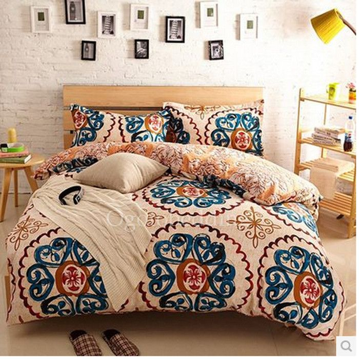 Beige And Blue Patterned Pretty Unique Comforter Sets