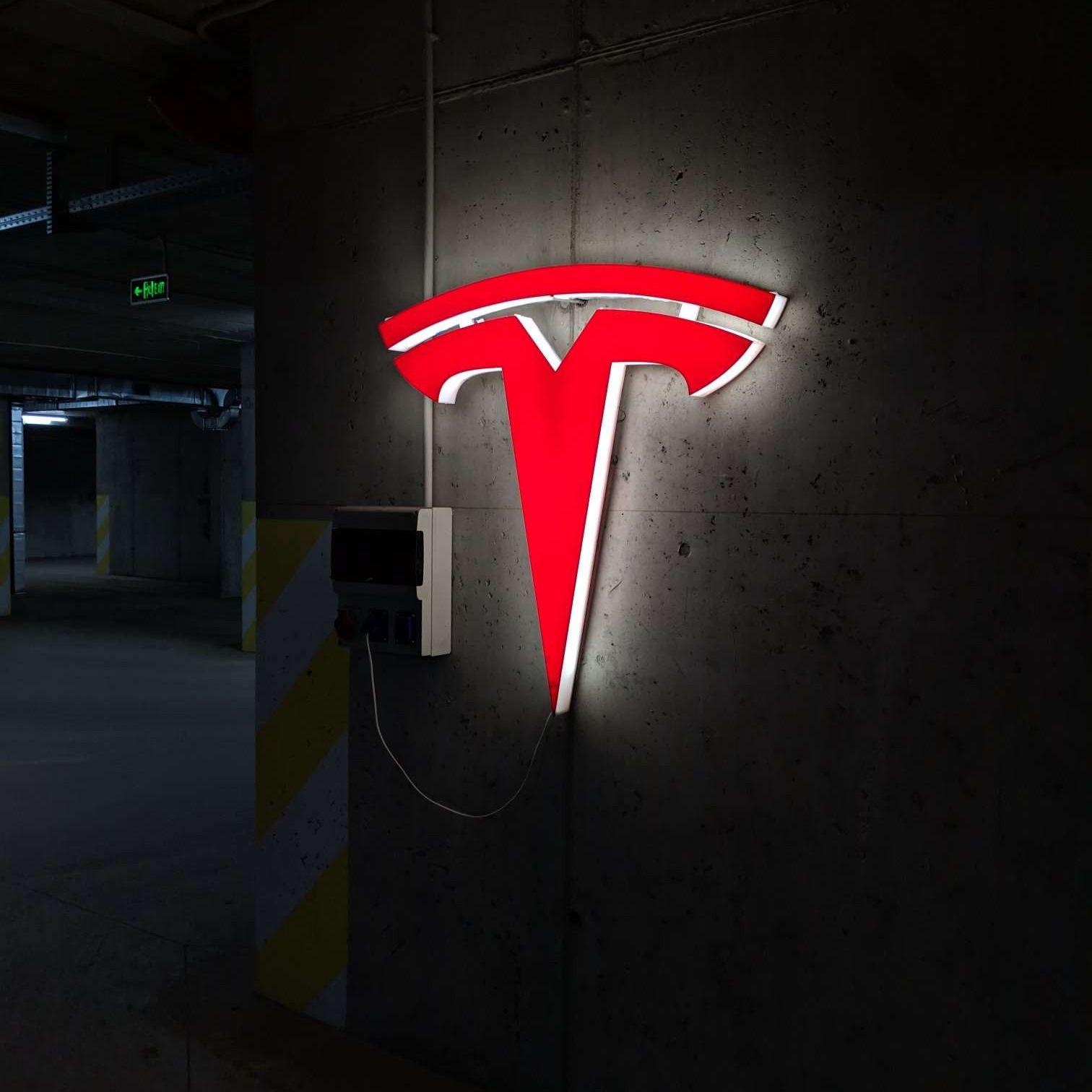 "NEW Tesla Logo Parking Sign EV Electric Car on 8"" X 12 ..."