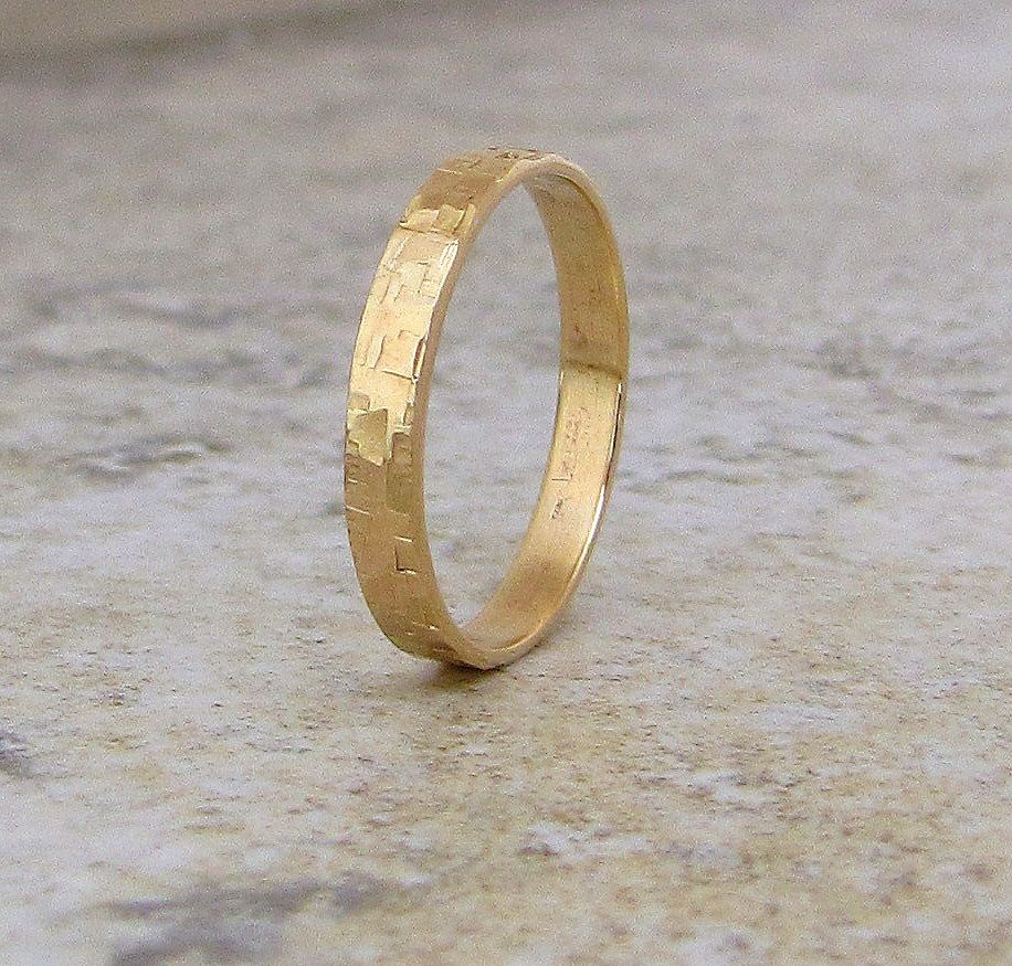 Mens Wedding Band Hammered Gold Ring Distressed Squares 14K Engraved Customized