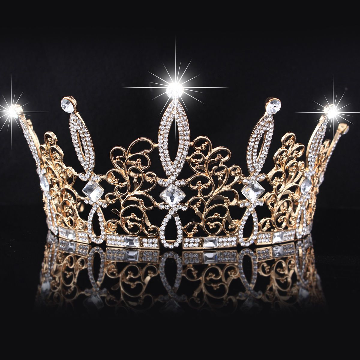 Bridal jewelry tiara - Details About New Tiara Gold Plated Women Vintage Crown Rhinestone Crystal Bridal Jewelry