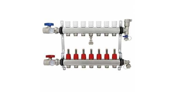 Rifeng Ssm207 7 Branch Radiant Heat Manifold Stainless Steel For Pex 1 2 Adapters Incl Radiant Heat Radiant Heating System Radiant Floor Heating