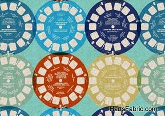 cotton linen - view finder reels - blue - ruby star rising fabric collection - Melody Miller for KOKKA