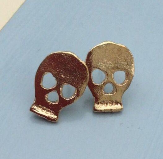 Gold Tone Skull Stud Earrings Studearrings
